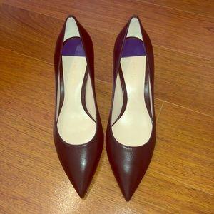 Stuart Weitzman Black Leather Kitten Heels